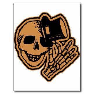 skull_top_hat_gentleman_orange_postcard.